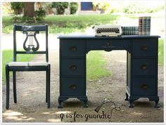 Desk painted in Little Billy Goat's Prizewinner with black wax. Repurposed Furniture, Painted Furniture, Repainted Desk, Farmhouse Office, Travel Themes, Paint By Number, Desk Chair, Pirates, Office Desk