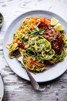 Hoisin Salmon with Zucchini Slaw | halfbakedharvest.com @Half Baked Harvest