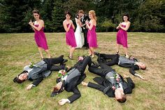 20 Creative Wedding Poses for Bridal Party. Love the close and personal, groused circle, ladies and gents, stunning lineup, high vantage point, and walking forward poses!