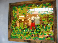 """Window painting: Make a stamp or use a stencil for these leaves. Add a few more each week until """"spring"""" turns into full-blown """"summer""""!"""