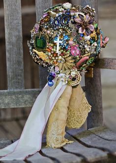 BOUQUET. Exactly what I want my brooch bouquet to look like, handkerchief, ribbon, and all! Just with my neutral fall colors.