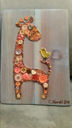 Button Art Baby Giraffe on  Recycled Wood with Acrylic Paint Background #buttons #button #art