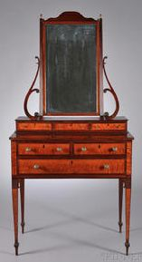 Federal Carved Mahogany and Bird's-eye Maple Veneer Dressing Chest with Mirror, attributed to Thomas Seymour, probably with John Seymour, Boston, c. 1805-10, original brasses, refinished, (minor restoration), ht. 73 1/2, case wd. 35, case dp. 19 7/8 in.