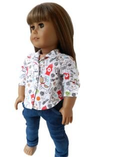 American Girl Doll Clothes  Long Sleeve Puppy Print by 18Boutique, $15.00