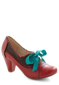 Notch Your Step Heel in Crimson by Chelsea Crew - Mid, Red, Blue, Brown, Scallops, Vintage Inspired, 20s, 30s, Lace Up