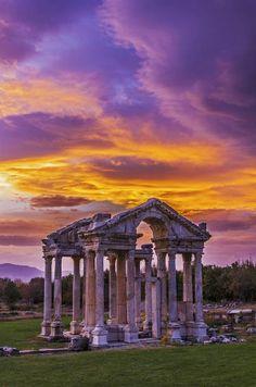 Sunset Over Temple of Aphrodite, Aphrodisias Turkey