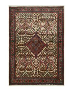 EORC X32746 Hand Knotted Wool Abadeh Rug, 3'10 x 5'5, Ivory