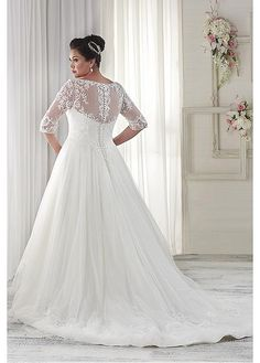 Buy discount Fabulous Tulle V-neck Neckline A-line Plus Size Wedding Dresses with Lace Appliques at Dressilyme.com