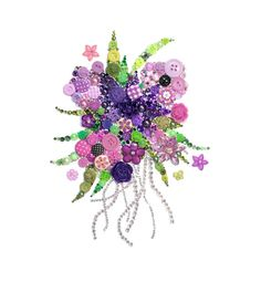 PURPLE BOUQUET 8x10 Button Artwork, Button Art, wall art, flower art, Swarovski, rhinestones, elegant, valentine art, diy, ooak, made in USA