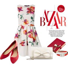 Floral Summer Skater Dress by ljbminime on Polyvore featuring Wet Seal, RED Valentino, Alexander McQueen, Graphic Image, summerdress, skaterdress and polvoretrends
