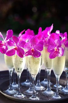 18 Unique Flower Decor Ideas for Your Wedding: Wedding cocktail idea - fuchsia orchids + champagne flutes {MeewMeew Studios}