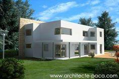 <p> Plan de maison adossée a un mur structurant son aménagement. Un plan de maison de type 4 offrant de grand espaces de vie tous éclairés naturellement</p>
