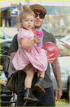 David Beckham takes his daughter Harper to the park in New York on September 10, 2013