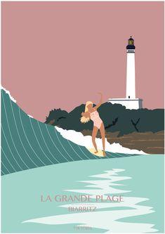 Creative Illustration, Illustration Sketches, Beach Pink, Pink Summer, Photos Encadrées, Pictures, Art Surf, Surf Drawing, Art Plage