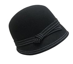 Ladies Vintage Inspired Wool Cloche Hat, Tapered Back, Black w/ White Stitching FLH http://www.amazon.com/dp/B00QJE7H5W/ref=cm_sw_r_pi_dp_4vbZvb133RZPV