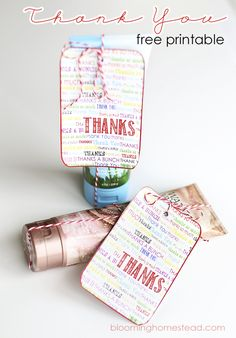 Free Printable Thank You Tags...a simple and versatile addition for any gift!
