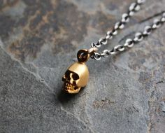Skull Charm Necklace ~ Dainty necklace, Gold charm necklace