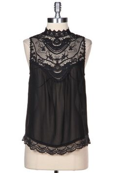 Ever After Lace Neck Blouse - Black