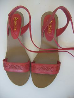 CORAL leather ANKLE TIE flat sandals