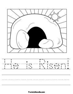 He is Risen Worksheet - Twisty Noodle Easter Worksheets, Easter Activities, Preschool Crafts, Easter Crafts, Bible Activities, Preschool Worksheets, Holiday Activities, Preschool Ideas, Kid Crafts