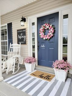 Summer Front Porches, Summer Porch Decor, Small Front Porches, Farmhouse Front Porches, Farmhouse Outdoor Decor, Houses With Front Porches, Painted Front Porches, Front Porch Makeover, Front Door Porch