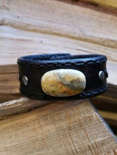Unique Leather Cuff-Crazy Lace Agate-Stamped by LeatherVision