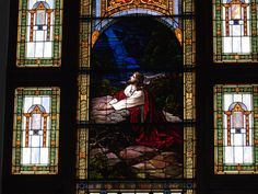 Stained glass window, Agony in the Garden, First Church of Christ in Lock Haven, PA