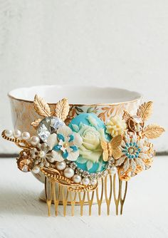 Bridal HAIR COMB Gold & Blue Vintage Style Hair