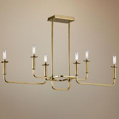 "ONE FOR DINING ROOM PLUS ONE BACKUP, NEEDS SIX 60W CANDELABRA BASE VINTAGE STYLE BULBS, Kichler Alden 38 1/2""W Brass 6-Light Linear Chandelier"