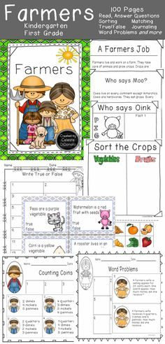 Farmers Unit. 100 pages. Includes what is a farmers job, questions for after reading, true and false task cards, label a farmer, cut and paste worksheets, shopping at a farmers market worksheet, matching cards, coin and bill task cards and more. #teacherspayteachers #TpT #farm #animals #grade1 #gradek