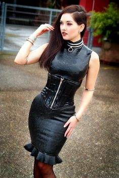 Gothic, Latex Dress, Latex Fashion, Goth Girls, Corset, Piercing, Girl Fashion, High Neck Dress, Bodycon Dress