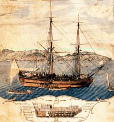 """St. Domingue (Haiti) and slave ship. Shows purchase of slaves aft on the main deck, an iron barrier separating them from the quarter-deck, and Europeans apparently having a picnic on the stern; also cross- section of ship's hull with storage voyage d'Angole, 1772,1773""""opening of its [slave] sale [after] its third voyage from Angola, 1772, 1773]"""