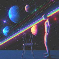 Dualvoidanima, a surreal aesthetic directly inspired by the eighties. Rainbow Aesthetic, Aesthetic Gif, Retro Aesthetic, Aesthetic Pictures, Psychedelic Art, Arte Alien, Vaporwave Art, Psy Art, Retro Waves