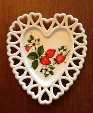 Vintage Westmoreland Milk Glass Open-Heart Lace Handpainted Strawberry Plate