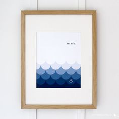 """The repeating scalloped shapes in this 8.5"""" x 11"""" print create a modern wave pattern with an ombre effect. The poster would be great in a child's bedroom or any beachy space! ...MADE BY ROSA PEARSON"""
