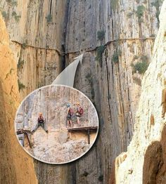 This trail is known as El Caminito del Rey and is located in Spain. While the scenery is spectacular, the climbers are always on the edge of falling to their death. Every step on this trail is critical. Scary Places, Places To See, Rock Climbing, Mountain Climbing, The Great Outdoors, Adventure Travel, The Good Place, Weird, Hiking
