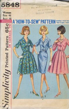 One PC Dress VINTAGE SEWING PATTERN 5848 SIMPLICITY SIZE 46 BUST 48 HIP 50 UNCUT