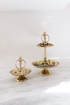 Antique Brass 1 Tier Dish  entertaining. brass dishes. party