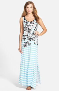 kensie+'Flowers+and+Stripes'+Maxi+Dress+available+at+#Nordstrom ✅