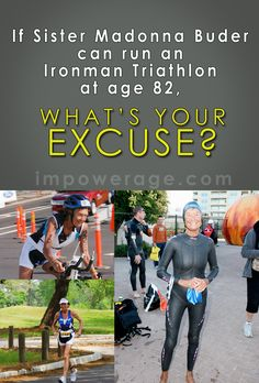 Sister Madonna Buder, also known as the Iron Nun, only started running at age 48 and completed her first triathlon at age 52. She now holds the world record for the oldest person to ever finish an Ironman Triathlon at age 82. Repin this to enter to win a copy of Sister Madonna's autobiography.