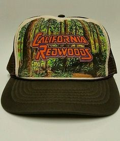 Vintage 80 s Smith Western California Redwoods Trucker Snap Back Hat Cap  Snap Backs 9f3807b5a69f