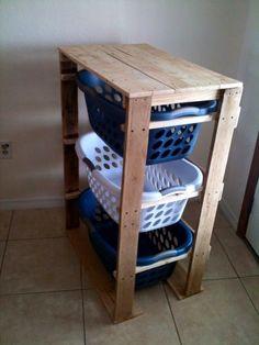 Wooden laundry basket holder