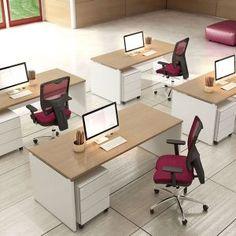 Compact. Desks Athena Plus top finish Oak, leg White and metallic drawers  //  ---  //  Scrivanie Athena Plus finitura piano Rovere, gamba Bianco, cassettiera in metallo