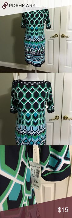Dress- Gorgeous Brand New - Woman's 8P Beautiful print dress with a beautiful bold print in black, greens and white.  Collar very classy and elegant Dress Barn Dresses Midi