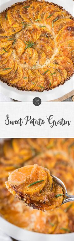 Sweet potato gratin is a wonderful baked and creamy side dish that is so easy to prep. Made with simple ingredients and perfect to serve with meat, chicken, seafood, and veggie mains. Great Thanksgiving side dish.