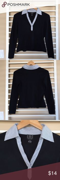 """INC Preppy Lightweight Sweater V-Neck Top Great condition top from INC. Lightweight sweater with a contrasting v-neck pinstripe collar. 22"""" sleeve, 19"""" length, 16.5"""" bust. Small snag in front (see pic). Smoke free pet free home. INC International Concepts Sweaters V-Necks"""