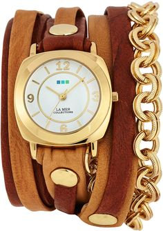La Mer Two-Tone Leather Wrap Watch, Tobacco/Camel