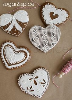 decorated gingerbread heart cookies | Crossstitch and lace hearts 10 cookies by shopforsugarandspice