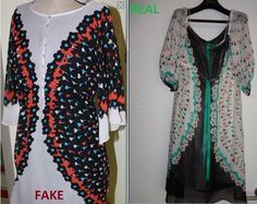 Fake/copy on the left of authentic Anna Sui design, right. (both eBay)