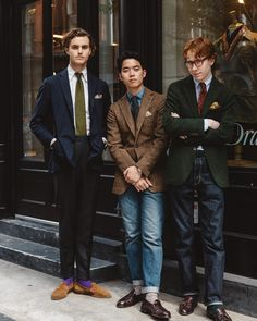 Matt, Will & Alex at Crosby / Drake London, Ivy League Style, Look Formal, Ivy Style, Preppy Men, Modern Gentleman, Sartorialist, Mens Fashion Suits, Men Looks